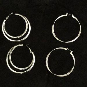 🆕 SILVER Hoop Earrings (2)